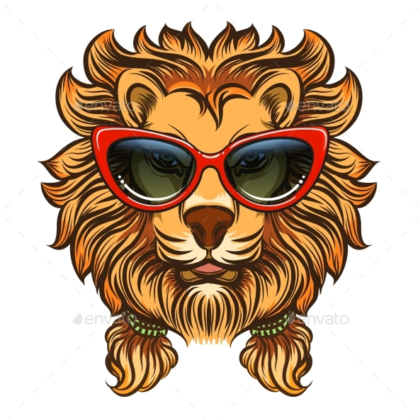 Glam Lion with Red Sunglasses - Miscellaneous Vectors