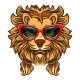 Glam Lion with Red Sunglasses - GraphicRiver Item for Sale