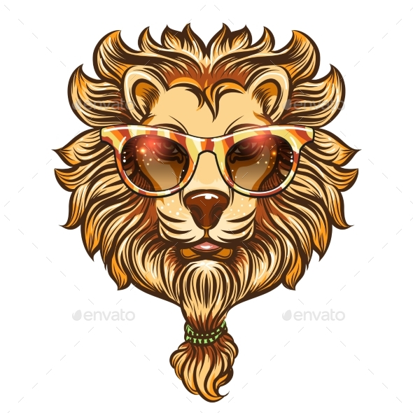 Hipster Lion with Colorful Eyeglasses - Miscellaneous Vectors