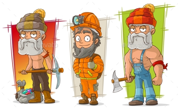 Cartoon Digger and Lumberjack Character Vector Set - Miscellaneous Characters