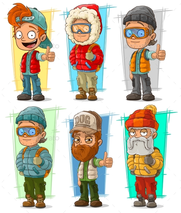 Cartoon Tourist Traveler Characters Vector Set - Miscellaneous Characters