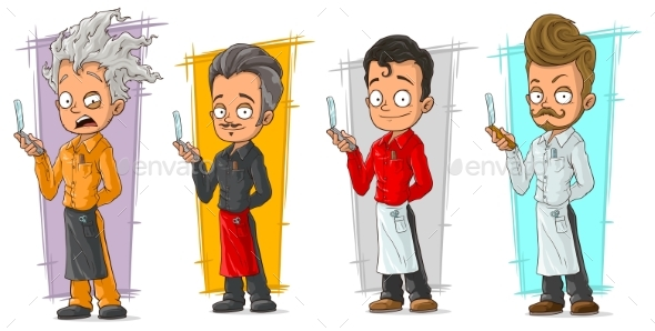 Cartoon Hairdresser with Razor Blade Character Set - Miscellaneous Characters