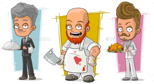 Cartoon Waiter and Butcher Character Vector Set - Miscellaneous Characters