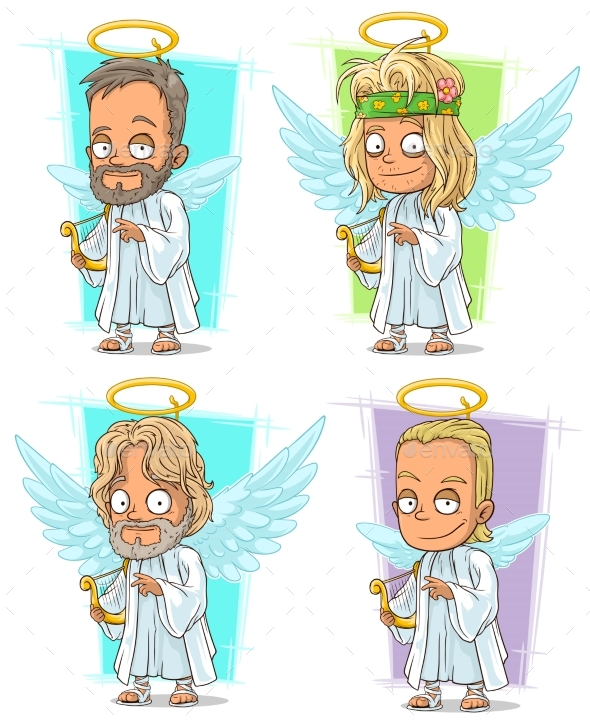 Cartoon Angels with Nimbus and Harp Character Set - Miscellaneous Characters