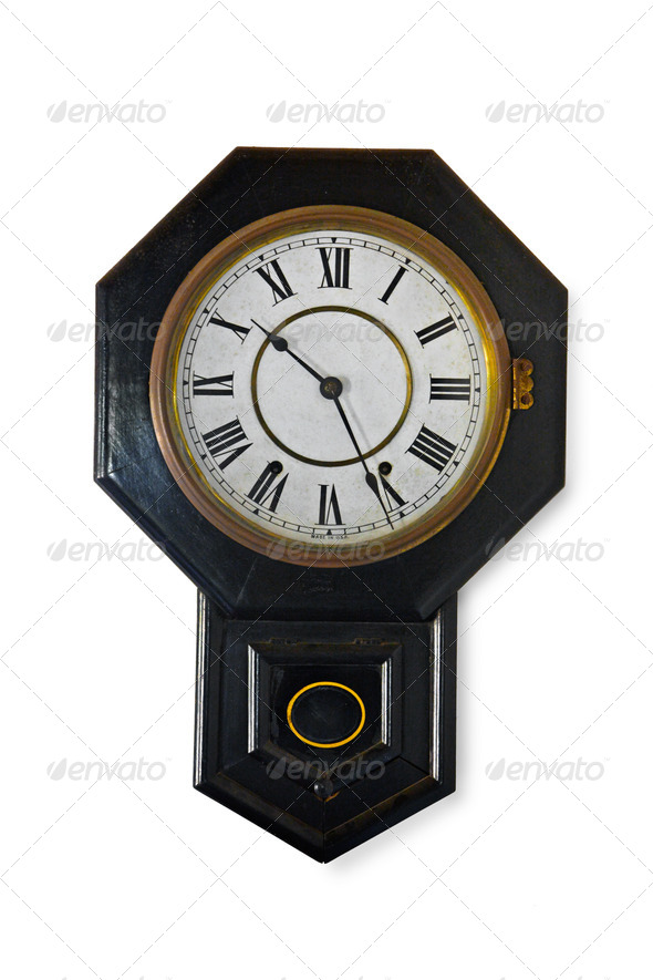 Wall clock isolkated - Stock Photo - Images