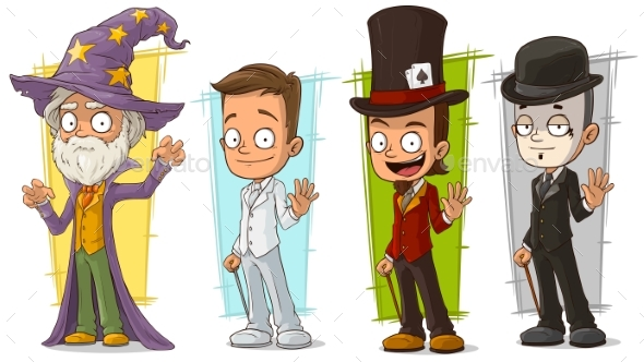 Cartoon Wizard and Mime Character Vector Set - Miscellaneous Characters