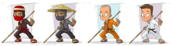 Cartoon Karate Boy and Ninja Character Vector Set - Miscellaneous Characters
