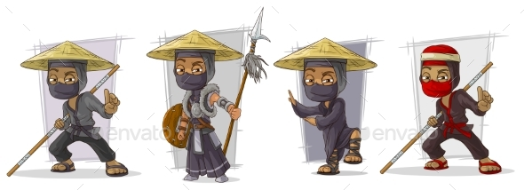Cartoon Masked Ninja Warriors Character Vector Set - Miscellaneous Characters