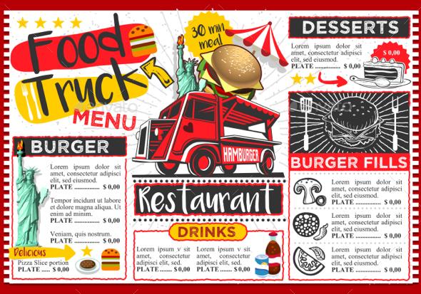 Fast Food Truck Hipster Menu Street Food Festival Vector Template - Vectors
