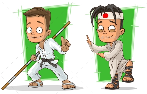 Cartoon Kung Fu Boys Character Vector Set - Miscellaneous Characters