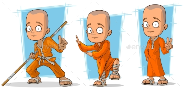 Cartoon Buddhist Monk Character Vector Set - Miscellaneous Characters