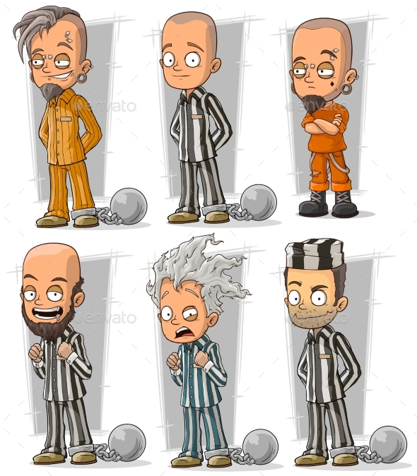 Cartoon Prisoners with Chains Character Vector Set - Miscellaneous Characters