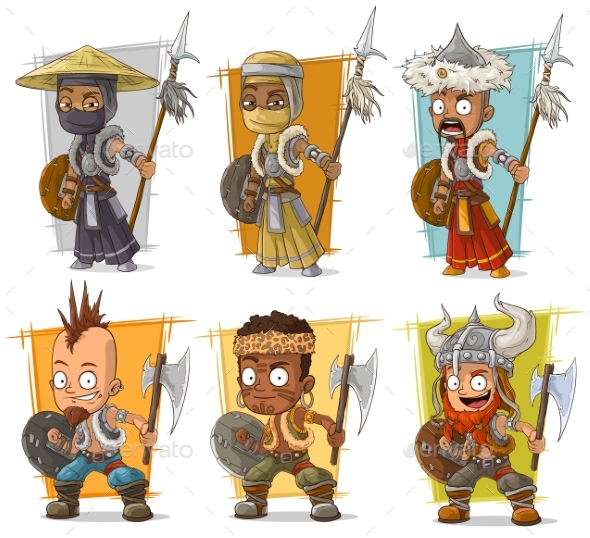 Cartoon Warriors with Spear Character Vector Set - Miscellaneous Characters