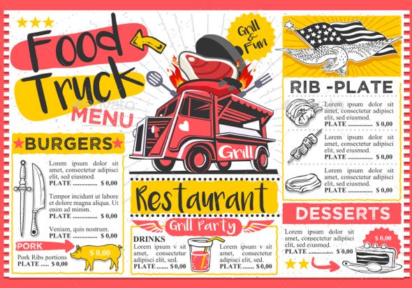 Fast Food Truck Menu Street Food Hipster Festival Vector Template - Vectors