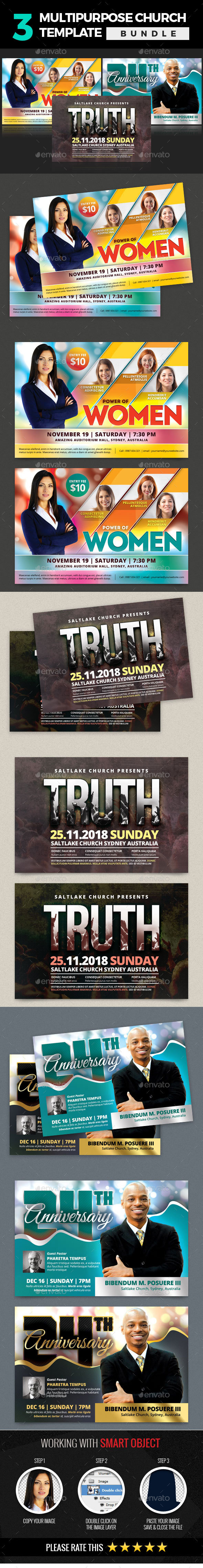 3 In 1 Multipurpose Church Template Bundle - Church Flyers
