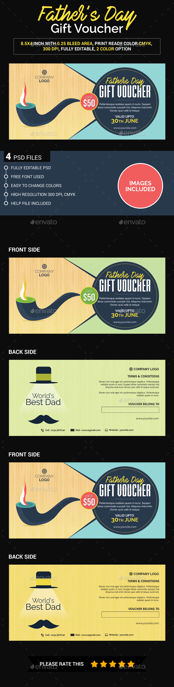 Father's Days gift voucher - Loyalty Cards Cards & Invites