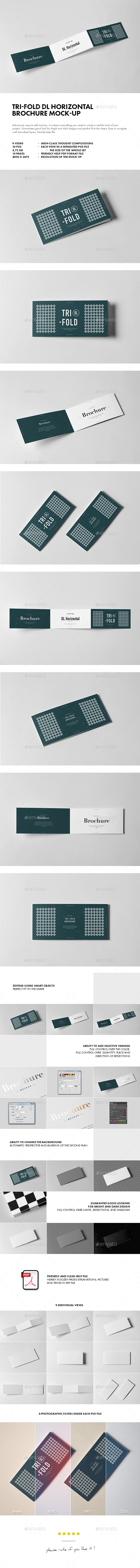 Tri-Fold DL Horizontal Brochure Mock-up - Brochures Print