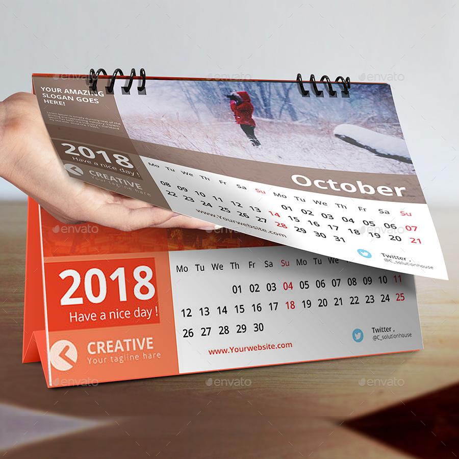 Desk calendar 2018 by creative solution graphicriver for Creative desk solutions