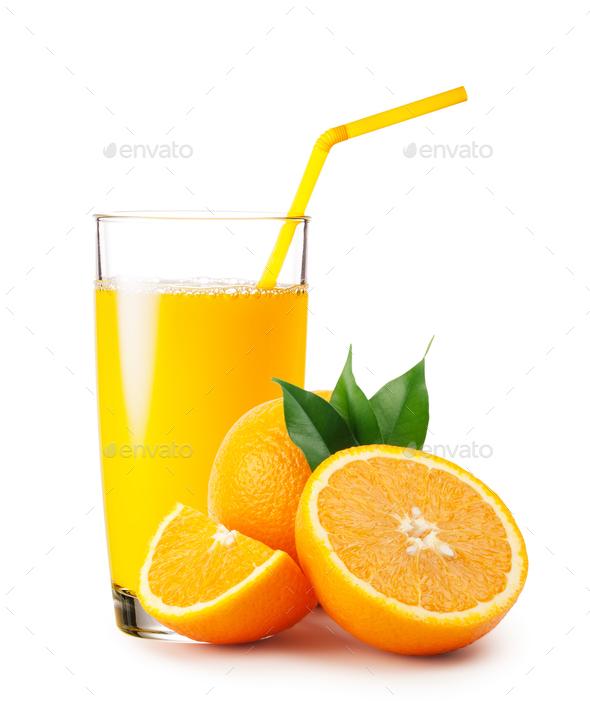 Glass of orange juice and oranges - Stock Photo - Images