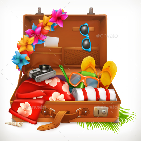Summer Vacation, Open Suitcase - Vectors