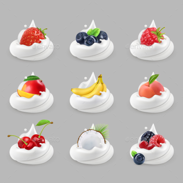 Whipped Cream With Fruits And Berries - Vectors