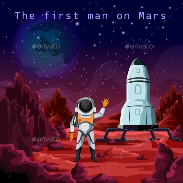 First Man in Spacesuit Exploring Red Planet Mars - Technology Conceptual