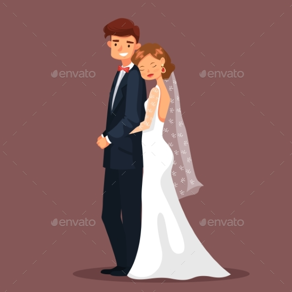 Man and Woman, Bride and Husband Hug at Wedding. - People Characters