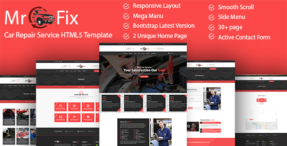 mr fix car repair service html5 template by unlockdesign themeforest. Black Bedroom Furniture Sets. Home Design Ideas