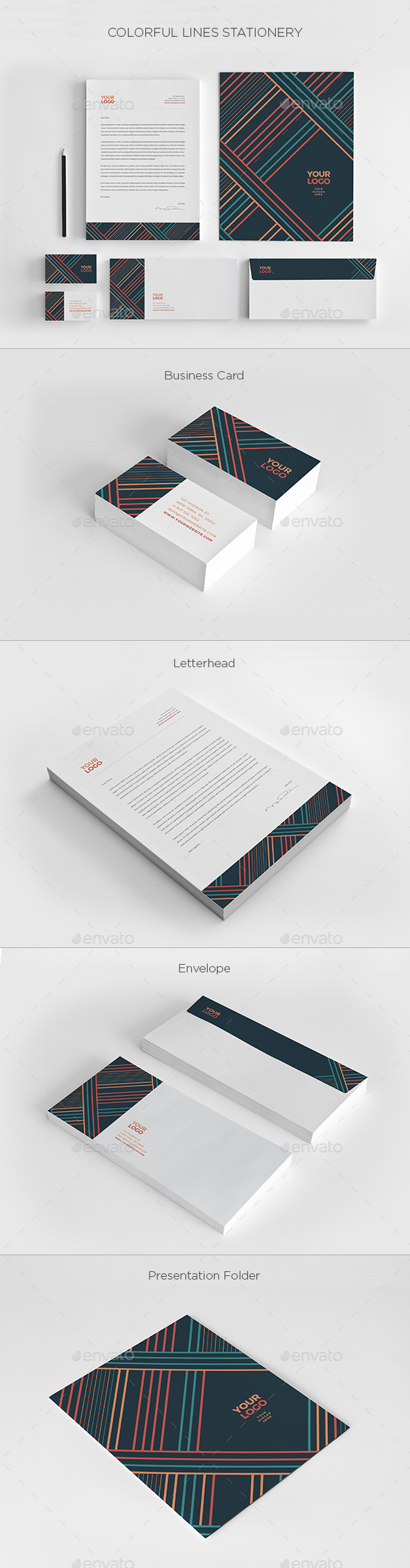 Colorful Lines Stationery - Stationery Print Templates