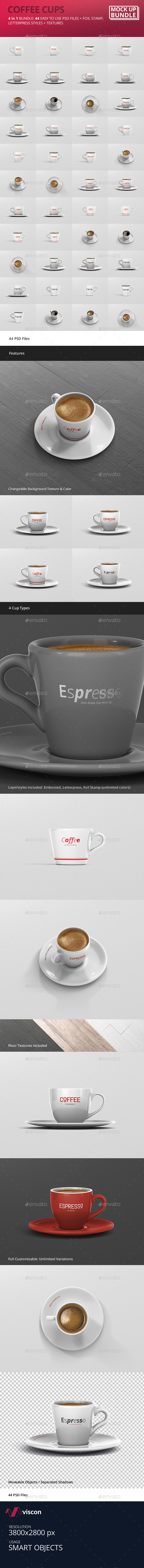 Espresso / Coffee Cup Mockup Bundle - Logo Product Mock-Ups