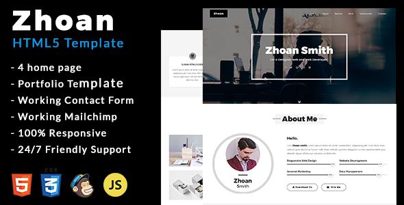 Zhoan - Personal Portfolio Template - Personal Site Templates