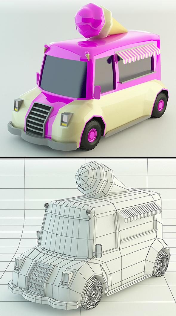 Low Poly Ice-Cream Van - 3DOcean Item for Sale