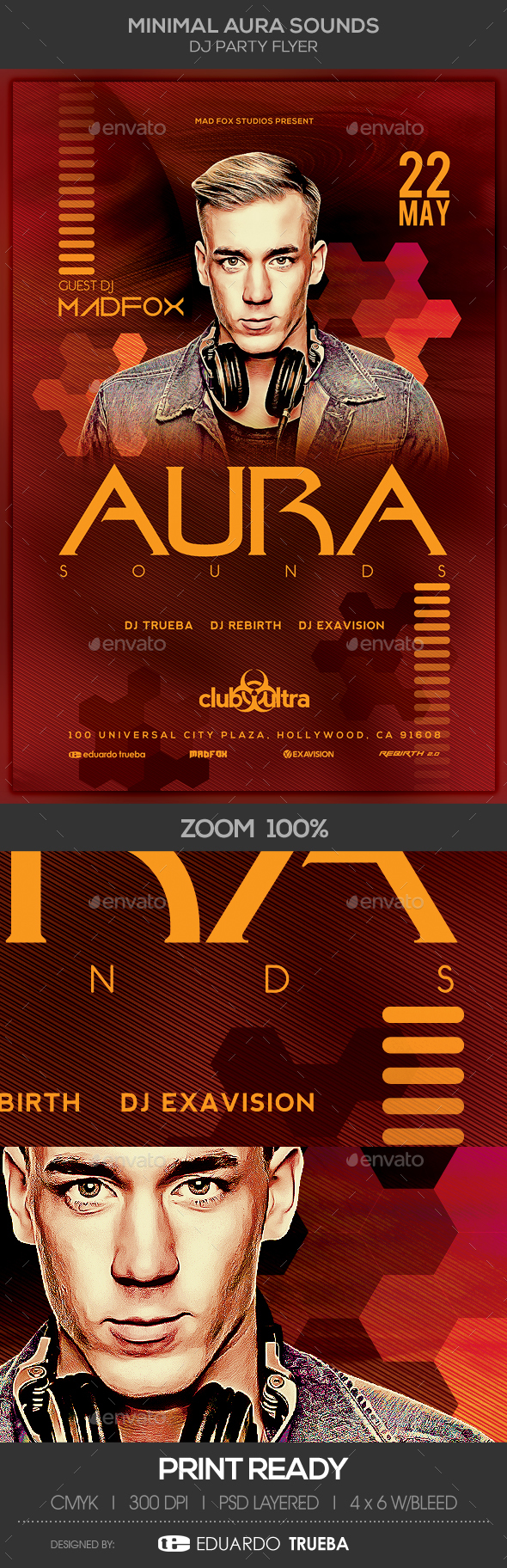 Minimal Aura Sounds Dj Party Flyer - Clubs & Parties Events