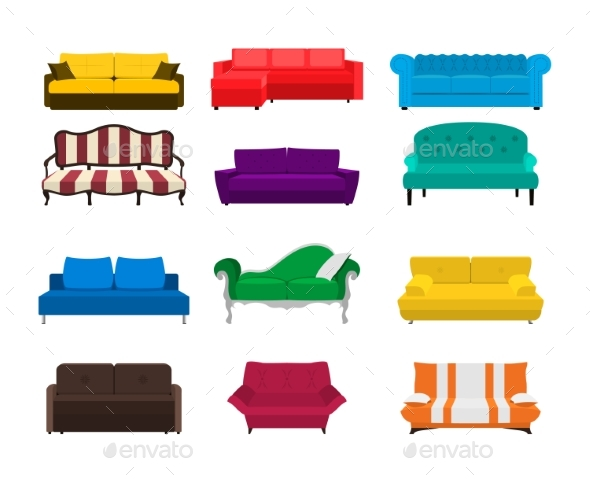 Vector Sofa Set Icon. Colored Collection Isolated - Objects Vectors