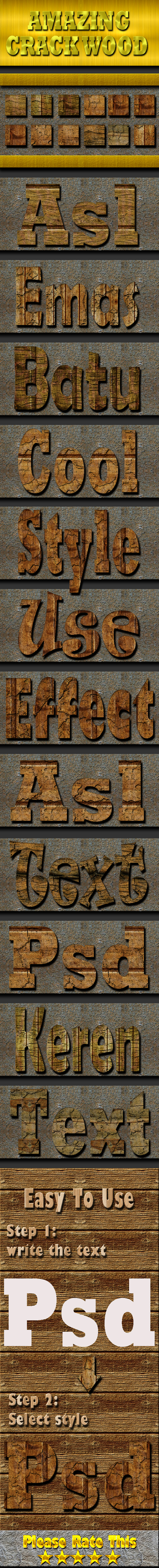 Cracked Wood Text Effect Style - Styles Photoshop