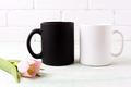 White and black mug mockup with  pink tulip - PhotoDune Item for Sale