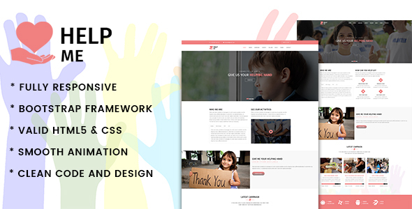 HelpMe | Nonprofit, Donation, Charity HTML5 Template