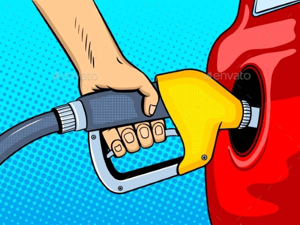 Gasoline Filling Comic Book Style Vector - Man-made Objects Objects