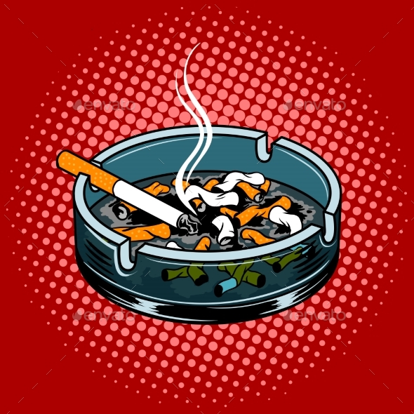 Ashtray with Cigarette Butts Pop Art Style Vector - Man-made Objects Objects