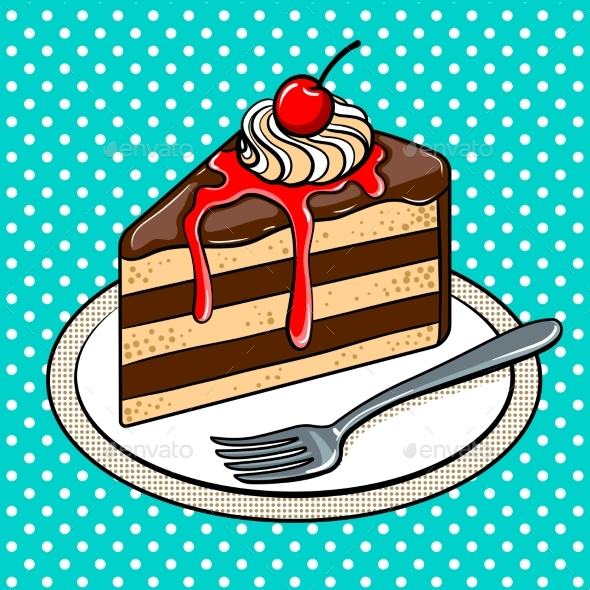 Slice of Cake on Plate Pop Art Vector Illustration - Food Objects