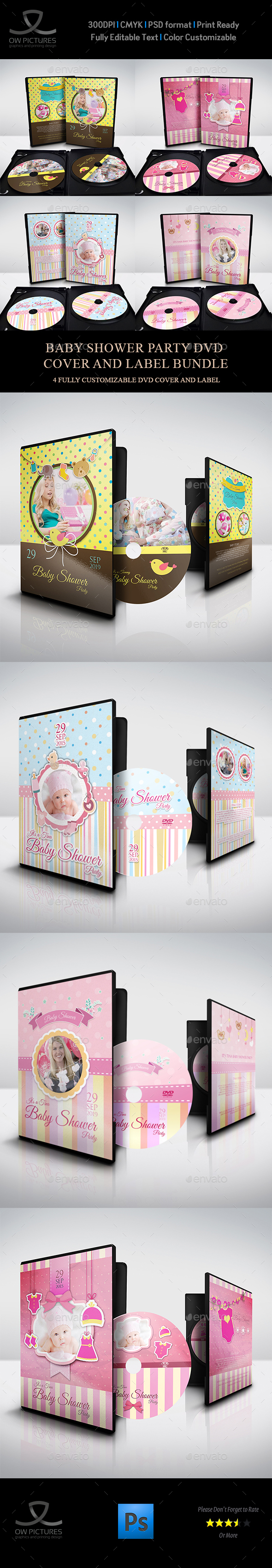 Baby Shower Party DVD Bundle Vol.2 - CD & DVD Artwork Print Templates
