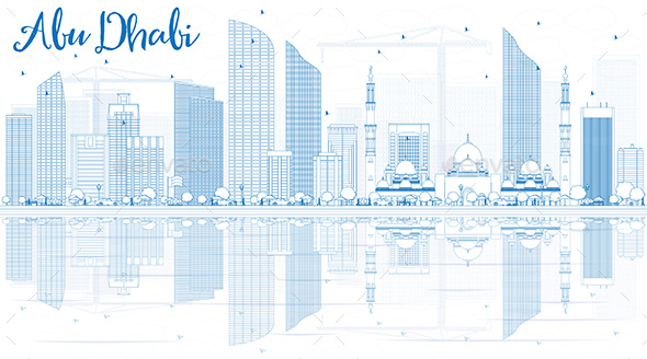 Outline Abu Dhabi City Skyline with Blue Buildings and Reflections - Buildings Objects
