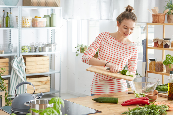 Cook preparing a salad - Stock Photo - Images