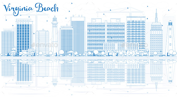 Outline Virginia Beach Skyline with Blue Buildings and Reflections - Buildings Objects