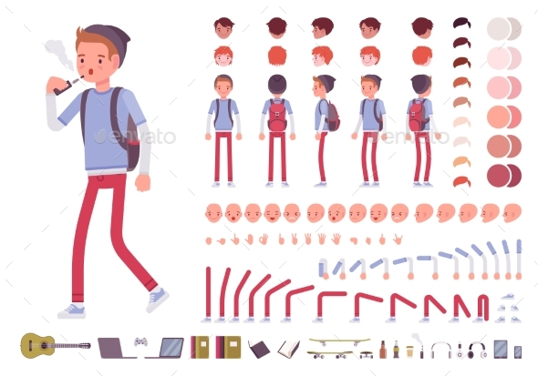 Teenager Boy Character Creation Set - People Characters
