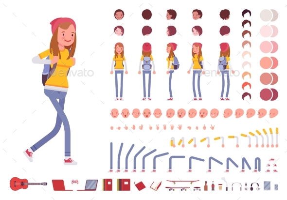 Teenager Girl Character Creation Set - People Characters