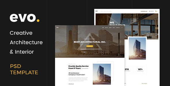 Evo creative architecture interior psd template by lemonthemes for Interior design portfolio templates free