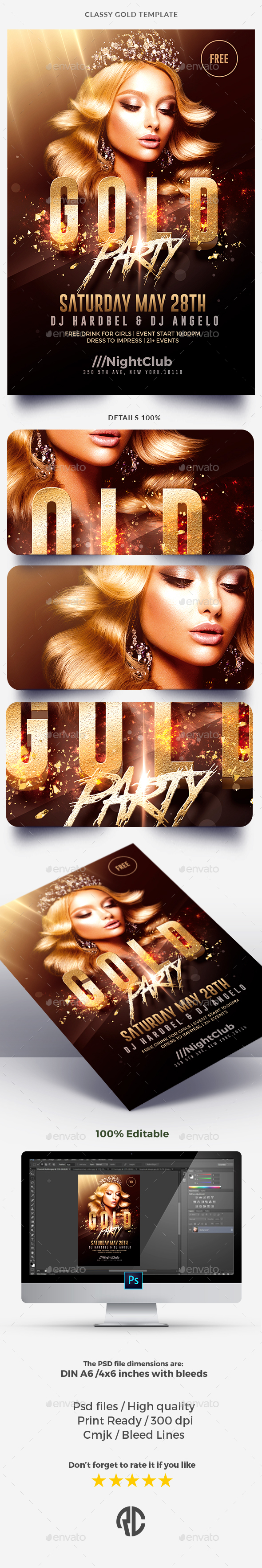 Classy Gold Party - Flyer Template - Clubs & Parties Events