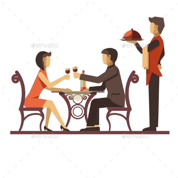 Young Couple Dating in Restaurant and Waiter - Food Objects