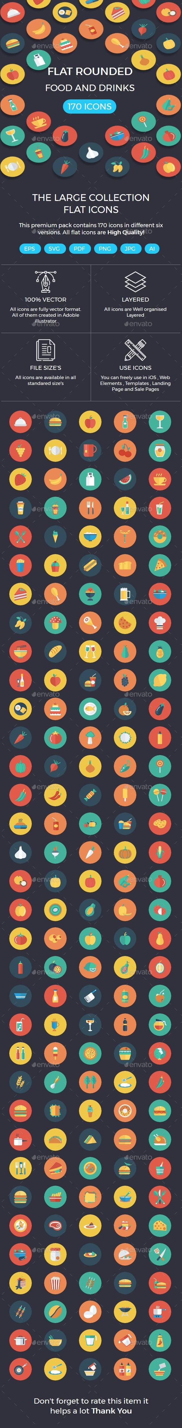 Food and Drinks Flat Circle Icons - Icons